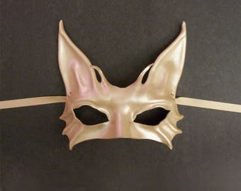 Cat Leather Mask in Metallic Pearl costume masquerade elegant sexy great for average and also smaller size adult faces