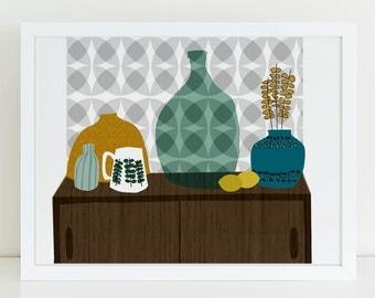 Stig (modernist set) - midcentury wall art print