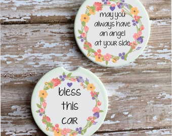 SET OF TWO Inspirational Car Coasters Christmas Gift Stocking Stuffer