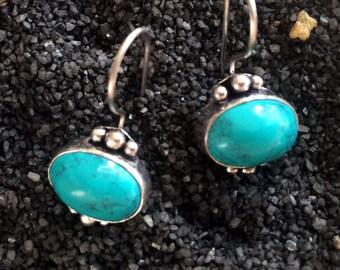 Turquoise earrings,silver earrings-turkish jewelry,minimalist,modern earrings,bridal jewelry gift for her by AHAAVI ZE128T