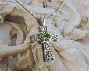 Vintage Sterling Silver Cross with Peridot Crystal and Chain
