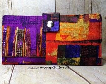 Abstract art Handmade Long Wallet BiFold Clutch - Vegan Wallet -  Purple Abstract Art wallet