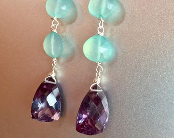 Alexandrite and Chaldecony Chanteuse Long Dangle Earrings, lever back option