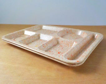 Vintage Texas Ware Lunch Trays • Set of 2 Melamine Cafeteria Trays • Mid Century Melmac Confetti Orange Trays