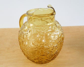 Vintage Ball Pitcher • Anchor Hocking Honey Gold Lido • 1960's Amber Glass Pitcher