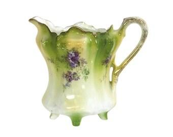 German Creamer, Purple Hydrangea Flowers, Antique Porcelain, Rustic Modern Farmhouse Decor