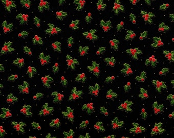 Quilting Treasures Sounds Of The Season 1649 23826 J Holly Berries On Black By The Yard