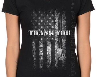 Thank You T Shirt US flag Shirt V neck Fallen soldier Veterans Gift Military flag Army t shirt Plus size Husband Gift for dad Christmas Gift