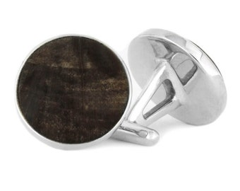 Wooden Cufflinks, Sterling Silver Cuff Links Made With Petrified Wood, Wood Jewelry For Men