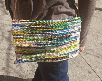 Colorful upcycled crossbody purse