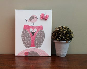Pink and Gray Nursery Canvas Art Owl Nursery art Butterfly and Bird Decor Baby Girl Room Decor Canvas Owl - Canvas 8x10 in