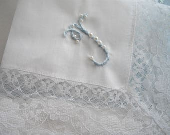 Initial Hand Embroidered Lace Gift Memento Handkerchief Assorted Initial Colors Bride Bridesmaids Mother Of The Bride Or Groom Made in USA