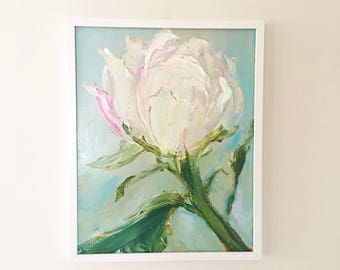 White Peony Painting-FRAMED in WHITE Peony Rose Flower Painting- 16 x 20 White Peony- Large Flower Painting- Stretched Canvas