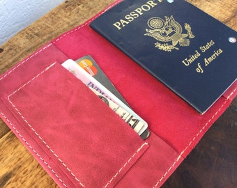 Bright Pink Leather passport cover