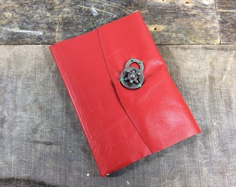 Spunky Red Leather address book with tabs