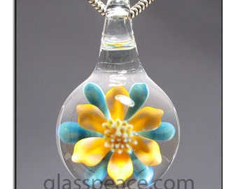 Glass Pendant Flower Jewelry focal lampwork boro bead - Glass Peace glass jewelry (6114)