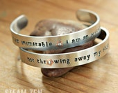 Hamilton Not Throwing Away My Shot - I am Inimitable I am an Original Hand stamped Cuff Bracelet - Mixed Metal Cuff Bracelet - Hamilfan Gift