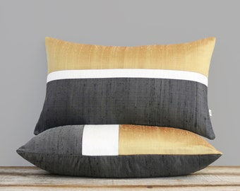 Silk Horizon Line Pillow Cover in Ochre, Cream + Charcoal (12x20) by JillianReneDecor - Autumn, Fall Decor - Golden Yellow and Gray, Citrine