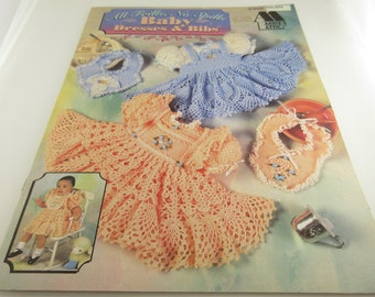 Vintage CROCHET All Frills No Spills 1990's Frilly Baby Dresses -Annie's attic Fancy Party