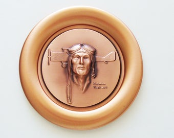 "Vintage Norman Rockwell ""Spirit of Lindbergh"" Plate / 1978 Limited Issue Registered Handmade Copper Plate / Unique Gift Under 50"