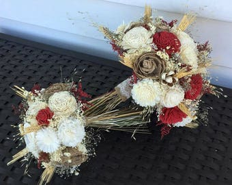 Dark Red, burlap, Ivory Wedding Bouquet made with sola flowers - choose colors - Custom - Alternative bridal bouquet - bridesmaids bouquet