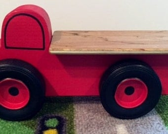 Toy Red Flatbed Truck - Handcrafted Wooden Toy Flatbed Little Red Truck - Birthday party favor - Party Theme Truck