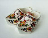 Vintage Wooden Clogs - Painted Miniature Dutch Clogs - Souvenir of Holland