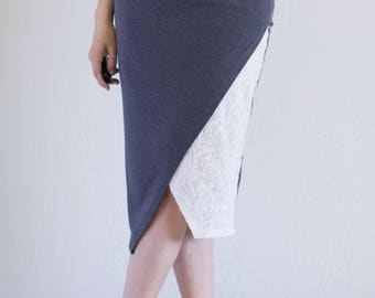 Asymmetric tango skirt, Soft stretchy jersey knit skirt, Duo fabric cross front skirt, Knee length skirt