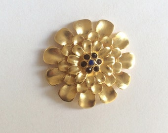 1pc- Matte 22K Gold Plated Base Flower with colorful, pink, red, blue beads charm- Flower 42x42mm-(017-051GP)