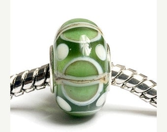 ON SALE 40% OFF Glass Lampwork Beads  - Large Hole Light Green w/Ivory Silver Rondelle Bead  - Sc10067