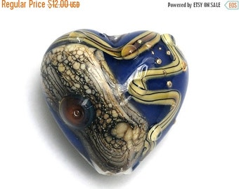 ON SALE 45% OFF Transparent Ink Blue w/Free Style Heart -11815705-Handmade Glass Lampwork Bead