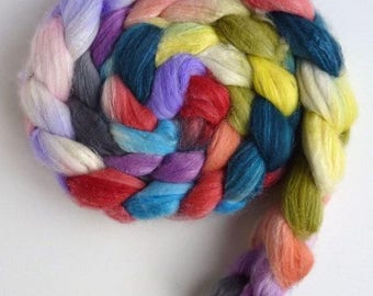 Merino/ Superwash Merino/ Silk Roving (Top) - Handpainted Spinning Or Felting Fiber, Sunshiney