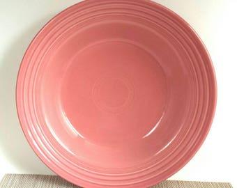 TWO Vintage Homer Laughlin Fiestaware Rimmed Rose Pink Soup Salad Bowl 1993