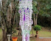 For Susan - Antique Crystal Wind Chime, Lilac and Light Green Crystal Wind Chime, Purple and Green Crystal Wind Chime, Home Decor