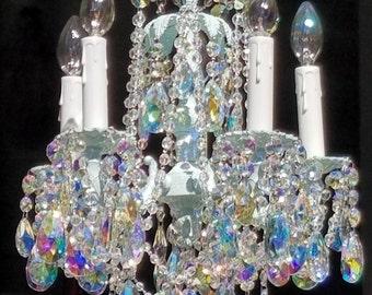 Chandelier, Vintage Petite Aqua and Aurora Borealis Crystal Chandelier, Pale Aqua Chandelier