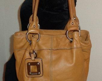 Tignanello thick buttery soft  camel tan genuine leather  hobo,  shoulder bag, tote ,city bag, work bag vintage 90s excellent