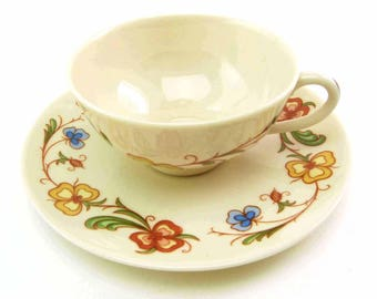 SHASTA Demitasse Tea Cup Saucer Set by Franciscan China Cottage Chic Flowers on Cream Background Made in California
