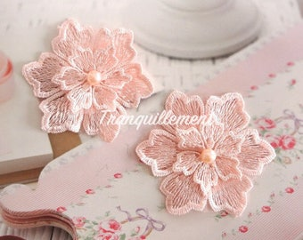 4 Light Peach Pink Floral Flower Faux Pearl Wedding Cocktail Dress Gown Sew On Appliques Embellishment Decorations