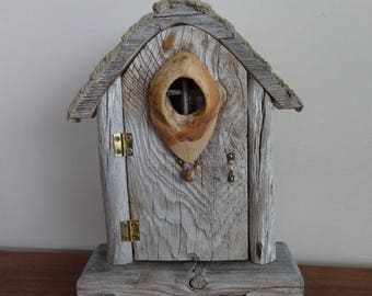 Driftwood Gnome Home Sculpture with Original Oil Painting