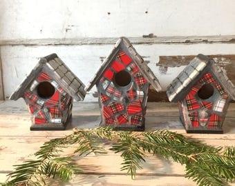 Broken China Mosaic Birdhouse Red Tartan Plaid  Decorative Mini - Choose Size