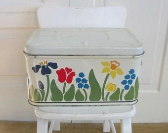 Vintage White Bread Box, Eighties Bread Box, Colorful Breadbox, Nina Bread Box, 1980 Bread Box, Metal Bread Box, Flowers Bread Box