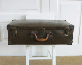 Vintage Brown Suitcase, Brown Case, Vintage Luggage, Industrial Storage, Antique Suitcase, Large Suitcase, Industrial Case