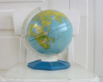 Vintage Metal Globe, School Globe, World Globe, Industrial Decor, Blue Globe