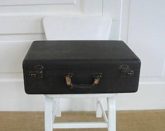 Vintage Black Suitcase, Black Industrial Case, Vintage Black Luggage, Black Storage Case, Vintage Black Case
