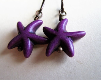 Starfish Earrings, Purple Starfish Earrings, Dainty Purple and Antique Copper Earrings, Ocean and Beach Jewelry