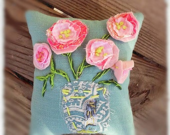 Roses in a Vase 3D Mixed Media Pillow Made to Order YelliKelli Mothers Day
