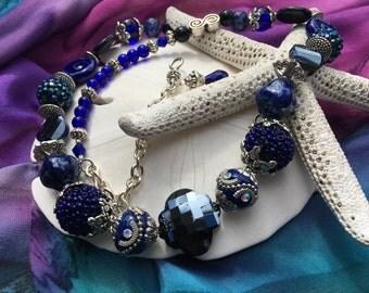 Handmade Extra Long Blue Beaded Necklace, Custom Jewelry by Elizabeth, Handmade Jewelry, One of a Kind Jewelry, Irish Expressions