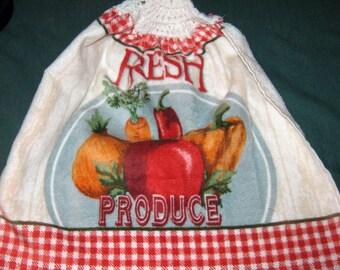 Crochet Kitchen Hanging Towel, Fresh Produce, White top