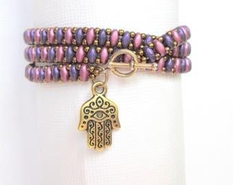 bead wrap bracelet evil eye bracelet good luck charm bracelet hamsa boho bracelet festival bracelet  seed bead bracelet stackable bracelet