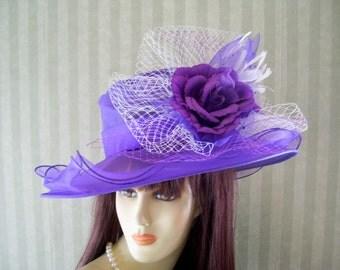 Kentucky Derby Hat, Preakness Hat, PuRpLe Hat, Wedding Hat, Church Hat, Easter Hat, Ascot Hat, Downton Abbey Hat By Ms.Purdy